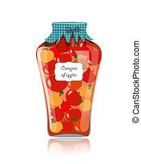 Glass jar of preserved apples
