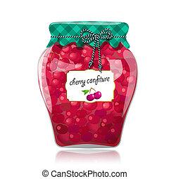Glass jar of preserved cherries