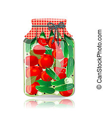 Glass jar of preserved cucumbers and tomato