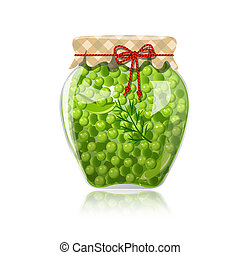 Glass jar of preserved green peas
