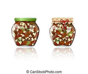 Glass jar of preserved mushrooms