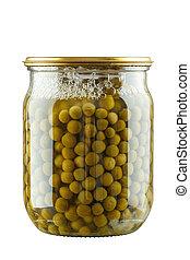 Glass jar of preserved peas