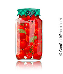 Glass jar of preserved tomatoes and spices