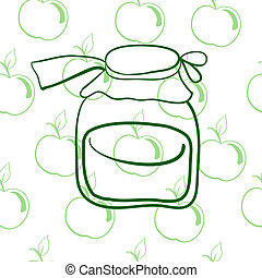 glass jar on the background of apples? - seamless pattern,...