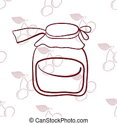 glass jar on the background of cherries? - seamless pattern,...