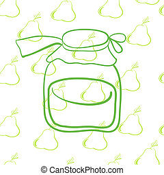 glass jar on the background of pears? - seamless pattern,...