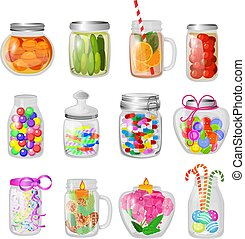 Glass jar vector jam or sweet jelly in mason glassware with lid or cover for canning and preserving illustration glassful set of cuppingglass with conservation isolated on white background