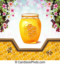 Glass jar with bees