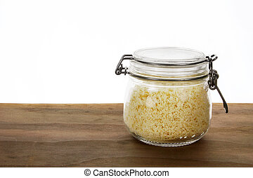 Glass Jar with Bread Crumbs