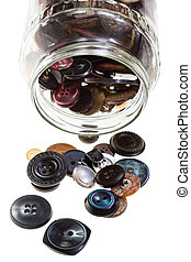 glass jar with buttons isolated