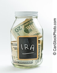 Glass Jar with chalk panel used for IRA retirement