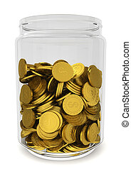 Glass jar with golden coins. Savings concept
