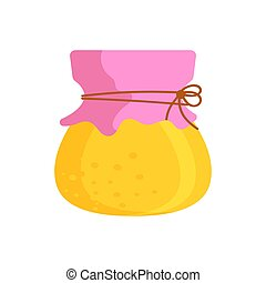Glass jar with golden honey on white background. Stock Vector illustration.