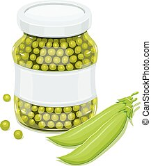 Glass jar with greeen peas and pods