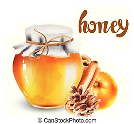 Glass jar with honey and decorations