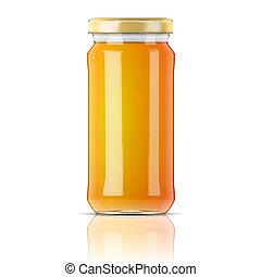Glass jar with honey.