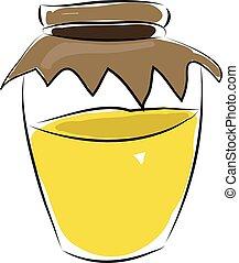 Glass jar with honey vector illustration on white background