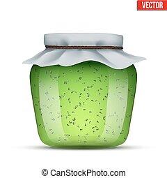 Glass Jar with kiwi jam.