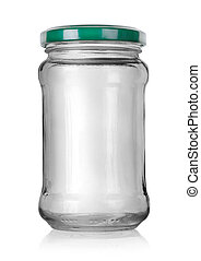 Glass jar with lid isolated on white background
