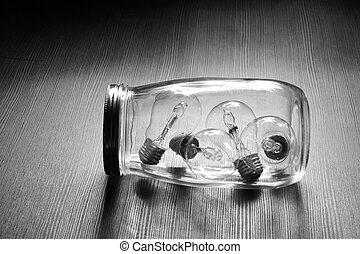Glass Jar with Light Bulbs