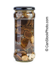 Glass jar with marinated milk mushrooms
