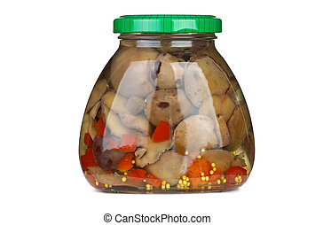 Glass jar with marinated suillus mushrooms