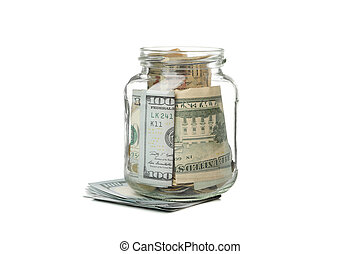 Glass jar with money isolated on white background