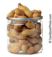 Glass jar with peanuts isolated on white
