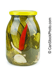 Glass jar with pickled cucumbers
