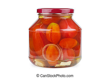 Glass jar with pickled home-made tomatoes