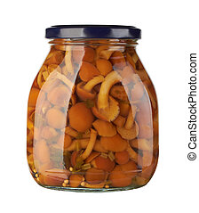 Glass jar with pickled mushrooms