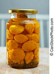 Glass jar with pickled patio