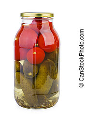 Glass jar with pickled tomatoes and cucumbers