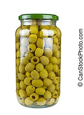 Glass jar with pitted green olives isolated on the white ...