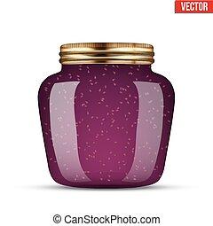 Glass Jar with raspberries jam.