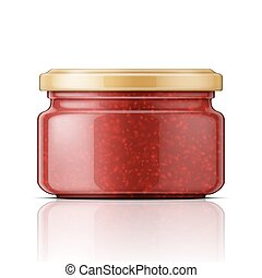 Glass jar with raspberry jam.