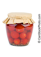 Glass jar with red pickled tomatoes