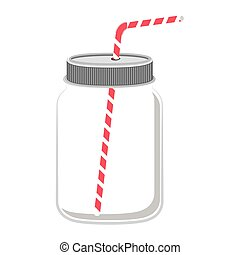 glass jar with red straw