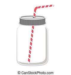 glass jar with red straw
