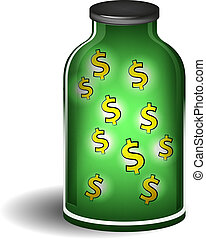 Glass jar with shiny dollar signs