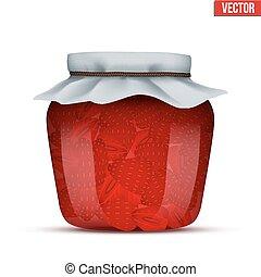 Glass Jar with strawberries jam.