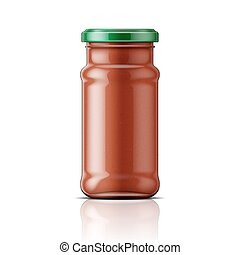Glass jar with taco sauce.