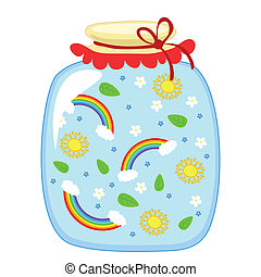 Glass jar with tinned summer, sun, rainbow and flowers on a white background