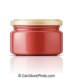 Glass jar with tomato sauce.