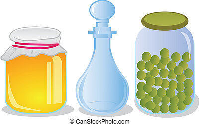 Glass jars and decanter