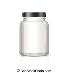 Glass Jars Bottles Empty Transparent. Vector illustration
