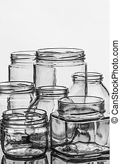 Glass jars - Empty glass jars for preserves, pickles or jam.