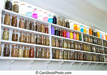 glass jars herbs and spices