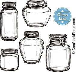 Glass Jars Set - Hand drawn old style glass jars set...