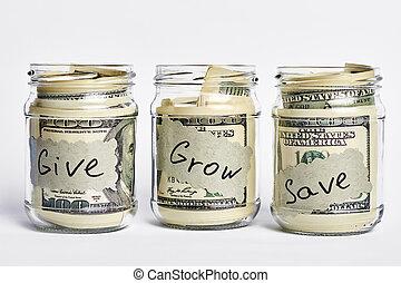 Glass jars stuffed with dollars.